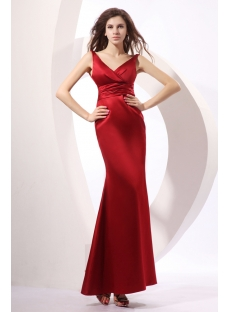 Burgundy Stunning V-neckline Ankle Length Evening Dress