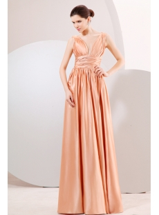 Champagne Plunge V-Neckline Long Evening Dress for Plus Size