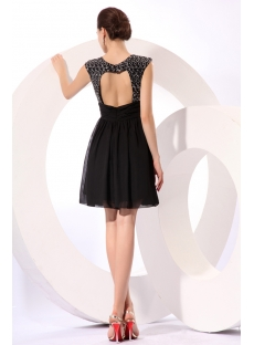 Charming Black Caps Sleeves Short Little Black Dress with Keyhole