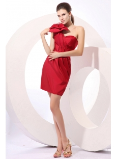 Charming Bow One Shoulder Red Short Homecoming Dress