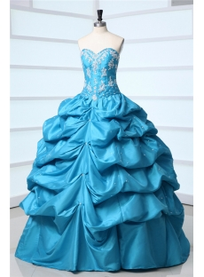 Cheap Blue Taffeta Sweetheart Long Quince Ball Gown Dress