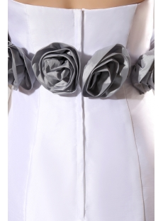 Cheap Strapless Flowers White and Silver Sheath Bridal Gowns