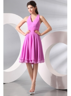 Chic Lilac Chiffon Halter Junior Prom Party Dress