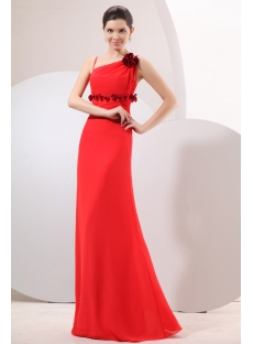 Chic Red Long Chiffon Empire Bridesmaid Dress