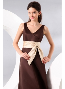 Chocolate Ankle Length Satin Bridesmaid Dress with Bow