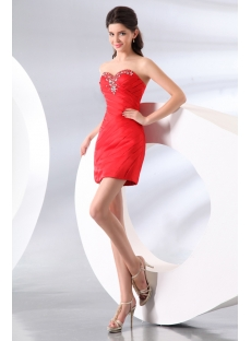 Cute Beaded Red Mini Cocktail Dress