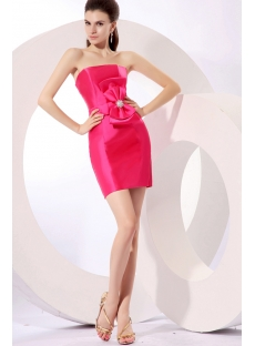 Cute Hot Pink Bow Mini Homecoming Dress under 100