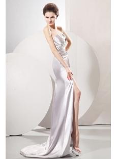 Dramatic Silver Slit 2014 Prom Dresses