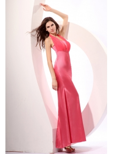 Dusty Rose Amazing Halter Sheath Discount Bridesmaid Gown