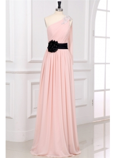 Dusty Rose Chiffon One Shoulder Plus Size Prom Gown