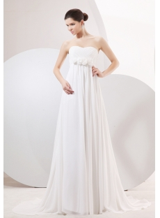 Elegant Chiffon Empire Maternity Wedding Gowns with Train