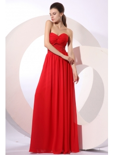 Elegant Red Sweetheart Long Chiffon Evening Dress
