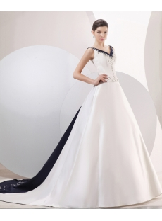 Exquisite Navy Blue Trim A-line Bridal Gowns