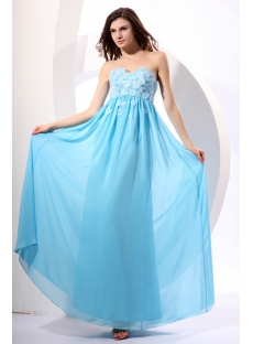Fabulous Long Blue Chiffon Maternity Evening Dresses