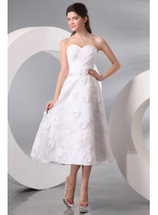 Fashionable Strapless Organza Embellished Tea Length Gown
