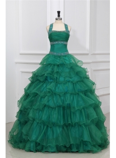 Forest Green Halter Puffy Princess Quinceanera Dresses