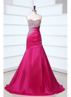 Fuchsia Long Magnificent Mermaid Prom Dresses