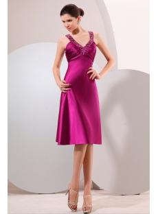 Fuchsia Short Prom Dress with Criss-cross Back