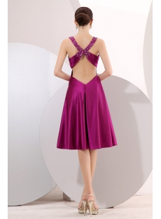 Fuchsia Short Prom Dress with Criss-cross Back