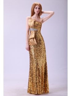 Gold Sequins One Shoulder Evening Dress 2013