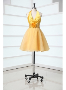 Golden Halter Cute Mini Prom Dresses