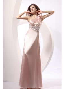 Gorgeous A-line Long One Shoulder Prom Dress 2014