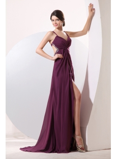 Grape Sexy Criss-cross Backless Evening Dress