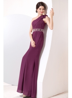 Grape Sheath Long One Shoulder 2014 Prom Dresses