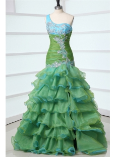 Green Mermaid One Shoulder Military Ball Gowns Army