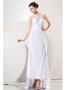 Awesome Halter Empire Highlow Chiffon Informal Wedding Gown With High Low Dress