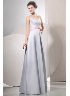 Halter Modest Satin Long Bridesmaid Dresses with Pink Ribbon