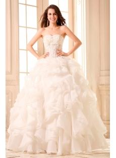 Illusion Sexy Puffy Ruffled Beach Wedding Dress