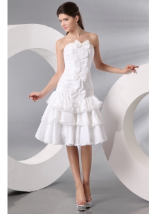 Ivory Taffeta Bow Short Bridal Gowns
