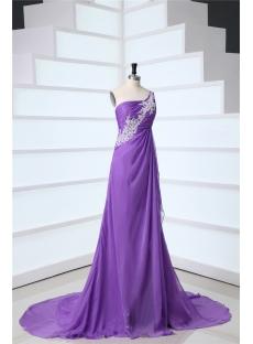Lavender One Shoulder Maternity Empire Prom Dresses