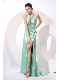 Light Green Sexy Halter Criss-cross Sexy Cocktail Gown