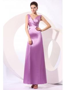 Lilac Satin Plunge V-neckline Modest Bridesmaid Dress