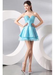 Lovely Blue Beaded Sweet Short Party Dress
