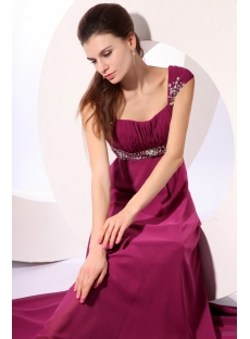 Magnificent Fuchsia Long Beaded Cap Sleeves Evening Gown 2014