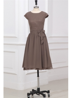 Modest Brown Short Prom Dress with Cap Sleeves