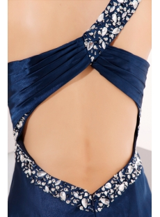 Navy Blue Keyhole Back Sexy Evening Gown