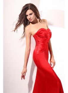 Perfect Red Long Satin Strapless Sheath Homecoming Dress