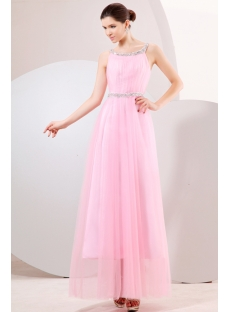 Pink Ankle Length Beaded Plus Size Party Dress