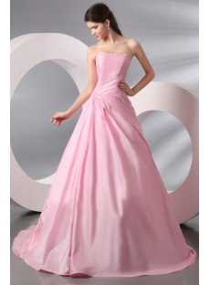 Pink Long Taffeta Wedding Dress for over 40 Bride