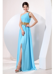 Popular Blue One Shoulder Sexy Slit Club Dress