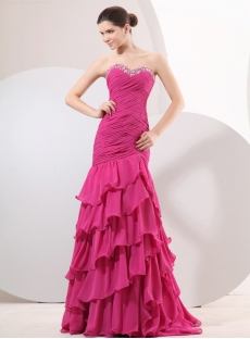 Pretty Pink Mermaid Evening Party Dress
