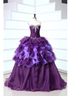 Purple Long Best Quince Gown Dress