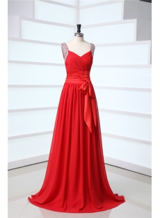 Red Chiffon Open Back Military Evening Dresses