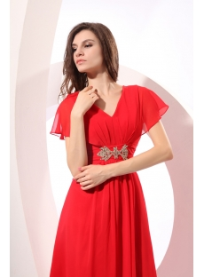 Red Long Chiffon Butterfly Sleeves Vintage Party Dress