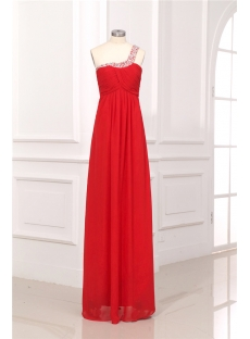 Red One Shoulder Keyhole Maternity Prom Dresses