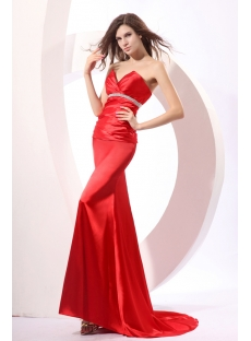 Red Satin Sheath Formal Evening dresses with Train